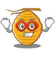 super hero bee hive character cartoon vector image