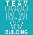 team building banner with people mono line vector image