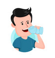 young man drink water from plastic bottle vector image