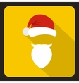 Red hat with pompom with a mustache of Santa Claus vector image
