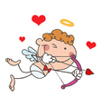 Cupid Closing One Eye While Aiming His Arrow vector image