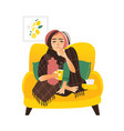 flat style woman having flu wrapped in blanket vector image