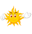 funny sun cartoon thumb up vector image