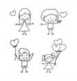 cartoon hand-drawn love vector image