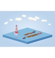 Timber floating on tow at the sea vector image