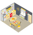 bright isometric kitchen with furniture vector image