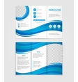 Brochure template design with blue wave elements vector image