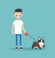 young smiling bearded man walking the dog flat vector image