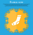 socks icon sign Floral flat design on a blue vector image
