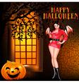 postcard on Halloween girl window vector image vector image