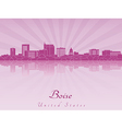 Boise skyline in purple radiant orchid vector image