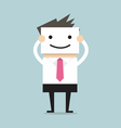 Businessman hide his real face by holding smile ma vector image
