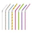 Color drinking straws set vector image