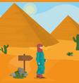 egyptian pyramids on desert vector image
