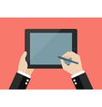 Hand writing on blank screen of tablet vector image