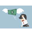 Money is flying away from sadness businessman vector image