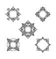 ornamental line floral pattern set flower frame vector image