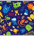seamless cute pattern made with monsters bubbles vector image