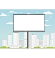 Billboard with empty screen against skyscrapers vector image