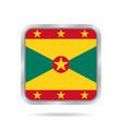flag of grenada shiny metallic gray square button vector image