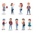 young people in casual clothes standing set vector image