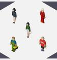 isometric human set of girl plumber female and vector image