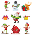 Nine different christmas decors vector image vector image