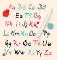 Funky Hand Written Alphabet Set Isolated on Retro vector image