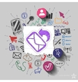 Envelope and collage with web icons background vector image vector image