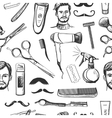 Hand drawn retro barbershop seamless pattern vector image