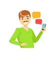 Man With Moustache Texting Messages Part Of vector image