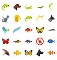 tropical animals icons set flat style vector image