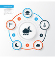 climate icons set collection of cloudy flag vector image