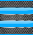metal perforated background with blue glass plates vector image