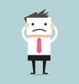 Businessman hide his real face by holding bad mood vector image