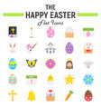 happy easter flat icon set holiday symbols vector image