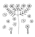 Set of abstract black hand drawn dandelion vector image