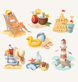 Set of summer beach elements vector image