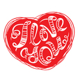 I love you lettering in red heart vector image vector image