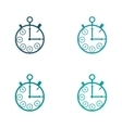 Stylish assembly sticker on paper Stopwatch and vector image