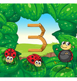 Number three with three ladybugs smiling vector image