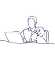 abstract business man typing on laptop computer vector image