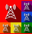antenna sign set of icons vector image
