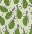 Green grenade seamless pattern Background military vector image