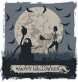 halloween greeting card with skeleton and skull vector image