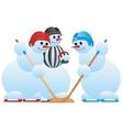 Hockey players and hockey referee vector image