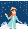 Girl with snowball3 vector image