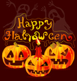 Halloween card with pumpkins vector image