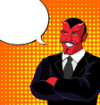 devil pop art Red horned demonl and text bubble vector image