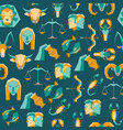 cartoon zodiac symbol background pattern on a blue vector image